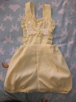 Vintage Baby Girl Yellow Romper 9-12 Months