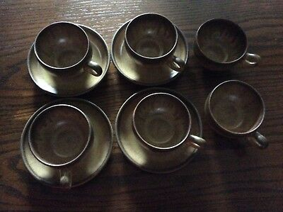 Denby 'Romany' 6 Flat Coffee Cups & Four Saucers.