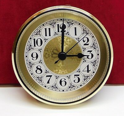 "Complete Clock Insert Fit Up Movement 3 1/2"" Diameter Fancy Gold Dial GGFA3.5"