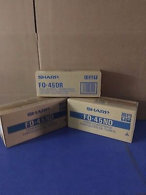 SHARP FO-45ND TONER-  Qty-2  & FO-45DR DRUM Cartridge- Qty-1 Genuine/New