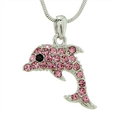 "Dolphin W Swarovski Crystal Pink Ocean Beach Sea Marine Animal Pendant 18"" Chain"