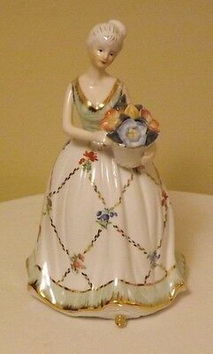 KPM Figurine (porcelain): Young Girl in White & green Gold w Flowers Marked Rare