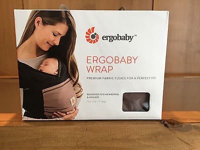 Ergo Baby Wrap - Clay (Taupe with Black) BRAND NEW In original box