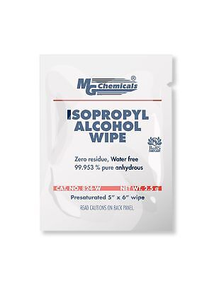 """MG Chemicals 99.9% Isopropyl Alcohol Wipe, 6"""" Length x 5"""" Width (Box of 500)"""