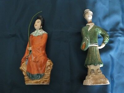 Pair of Early Antique Chinese Glazed Pottery Tomb/Attendant Figures