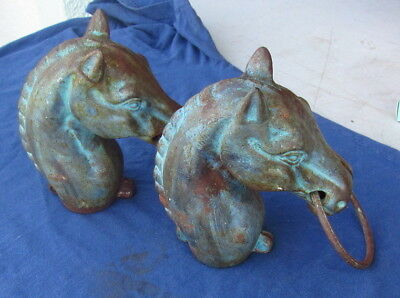 2 Horse Head Hitching Bridle Post Caps - Older Cast Iron - 9 Inches Tall