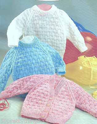 "Knitting Pattern To Make 16-22"" Baby Jumper & Cardigan Dk"