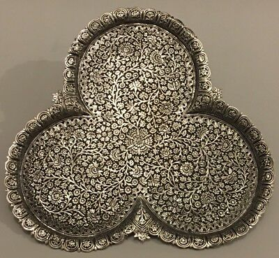 EXQUISITE ANTIQUE ISLAMIC PERSIAN INDIAN KASHMIR SOLID SILVER TRAY/ SALVER 518g