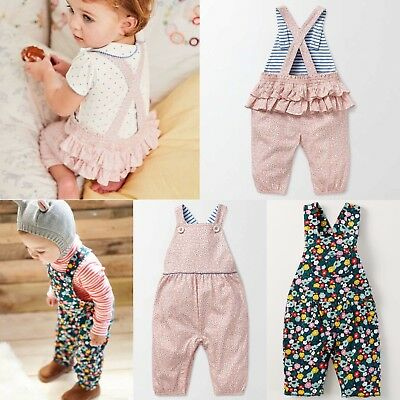 New Baby Mini Boden Girls Floral Jersey Dungarees Overalls RRP £24 0-3m - 2-3y