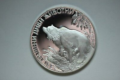 Bulgaria 25 Levs Bear & Cubs 1989 Silver Proof  Mintage = 20,000