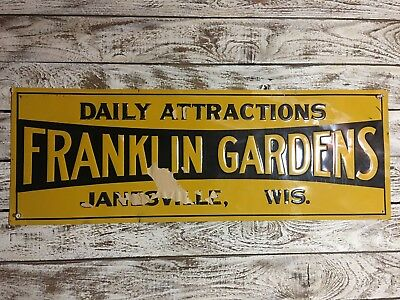 FRANKLIN GARDENS SIGN VINTAGE JANESVILLE WISCONSIN Amusement Signs