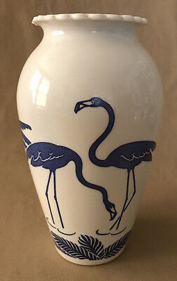 Vintage ANCHOR HOCKING Art Deco Style MILK GLASS Blue FLAMINGO VASE
