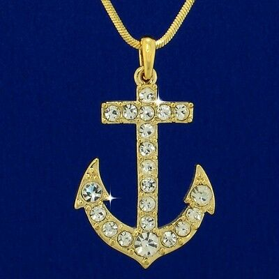 "W Swarovski Crystal Anchor Marine Boat Ocean Sea Beach New GP Pendant 18"" Chain"