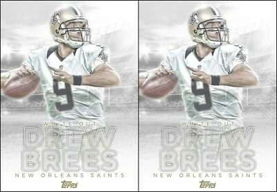Topps HUDDLE Drew Brees WHITE OUT Marathon 2 CARD BUNDLE