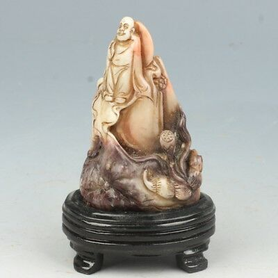 Chinese Exquisite Hand-carved Buddha Lotus root carving Shoushan Stone seal