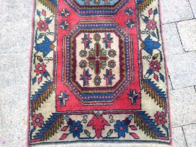 Colourful pure wool hand-knotted vintage Persian hall runner; CAN POST