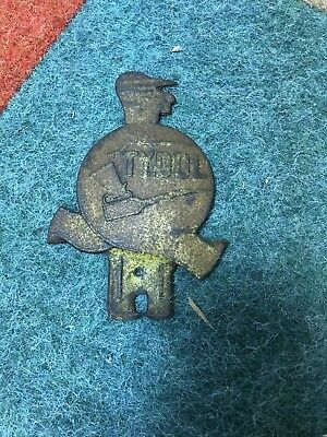 Vintage Embossed Tin Tydol Gas License Plate Topper Farman