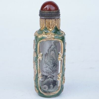 Chinese Exquisite glass Handmade landscape snuff bottle
