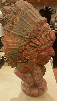 Vintage INDIAN CHIEF BUST/HEAD STATUE Mission Swirl LAYERED CLAY & RESIN 38 pds