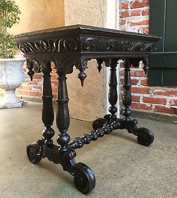 Antique English Carved Dark Oak Renaissance Side Table Nightstand Victorian