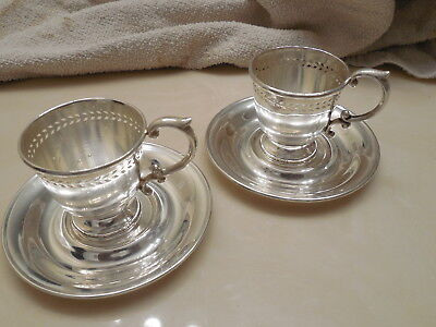 2 Dominick & Haff Sterling Silver Demitasse Cup Holder and Saucer Sets