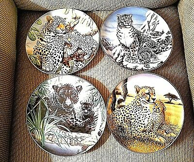 """Set of 4 IWC Lions Cat Collector Plates 8"""" Franklin Mint Wildlife Animal VINTAGE"""
