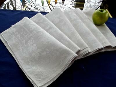 "6 Antique White Irish Linen 25"" Banquet Napkins ""Lapkins"" Damask Roses & Mums"