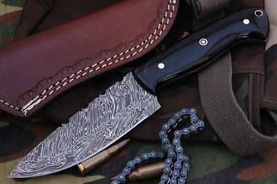 Custom Fire Twist Damascus Steel Drop Point Hunting Knife A22