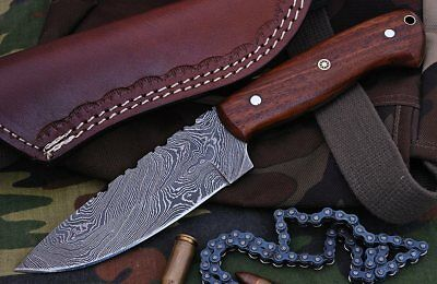 Custom Fire Twist Damascus Steel Drop Point Hunting Knife A34 Wood Handle