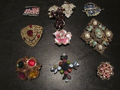 Vintage Rhinestone Jewelry Brooch Estate Lot of 9 Mixed AS FOUND