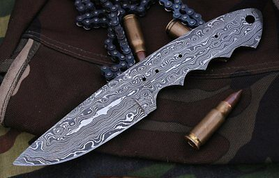 Custom Ladder Damascus Steel Drop Point Blank Blade A45 For Skinner Knife