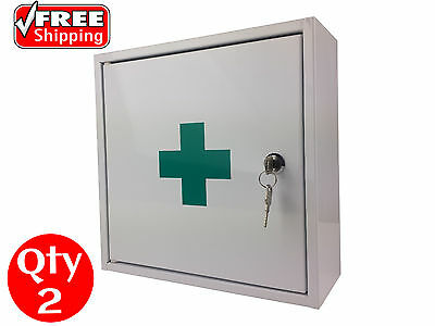 2 X First Aid Medical Medicine Cabinet Kit Box Steel Lock And Key Powder Coated