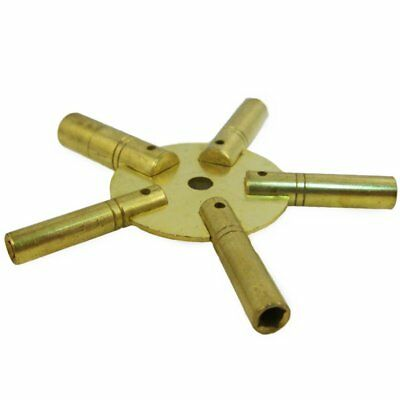 Brass Universial Clock Key for Winding Clocks 5 Prong EVEN Numbers (5024)
