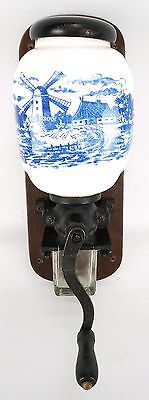 1950's Coffee Grinder Wall Mount Delft Blue White Porcelain Windmill