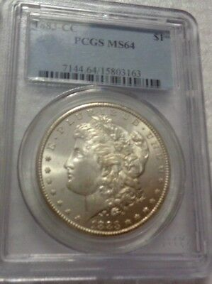 1883-CC SILVER DOLLAR - nearly 1 Oz SILVER - BRILLIANT UNCIRCULATED - PCGS MS64