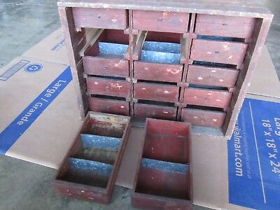 Primitive Apothecary Wood Cabinet 15 Drawers Old Cheese Box Parts Bin Organizer
