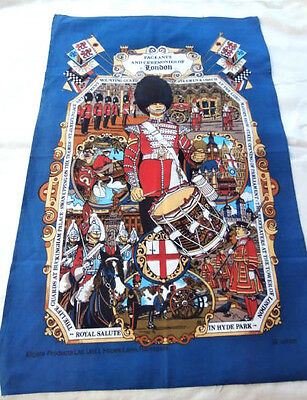 Vtg Cotton Tea Towel Pageants and Ceremonies of London Swan Upping guards