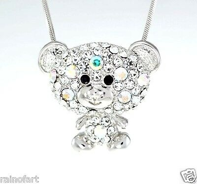 "Teddy Bear Made with Swarovski Crystal AB Clear Color Pendant Necklace 18"" Chain"