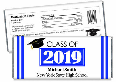 Set of 12 2019 High School Photo Graduation Candy Bar Wrappers PERSONALIZED