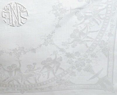 "Damask Linen Napkins (6)  22"" SNL Monogram, Cherubs, Leopards, Grapes - Awesome!"