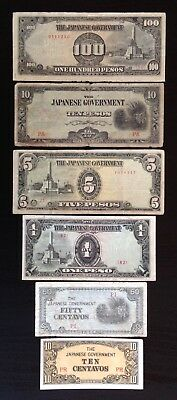 Philippines, Lot of 6 wartime notes, ND(1942-43), P-104a,105b,108b,109,110a,112a