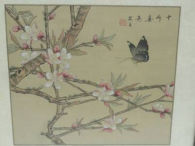 VINTAGE EARLY MID 20c CHINESE FLORAL PAINTING ON SILK BROCADE