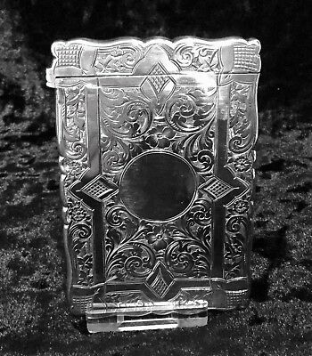 antique solid silver card case Birmingham 1892 Beautiful Immaculate Condition