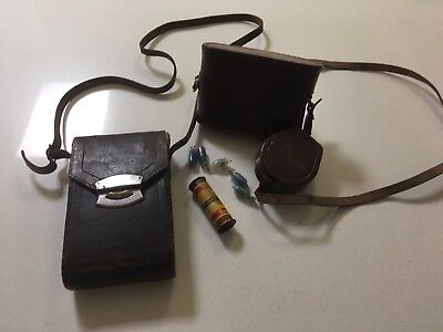 2 Vintage Camera AGFH PRONTOR SVS and Kodak folding - both leather cases 1950's