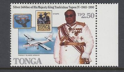 TONGA 1988 70th Birthday Ovpt Scouts Stamp MNH with margin