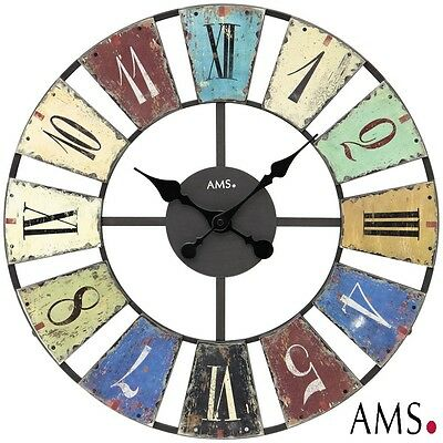 AMS 44 XXL Wall Clock Quartz Metal Housing Office Watch Ø 50 cm