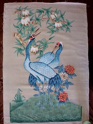 Chiinese/indian Vintage Silk  Painting/hand Coloured Print 80Cms X 55Cms