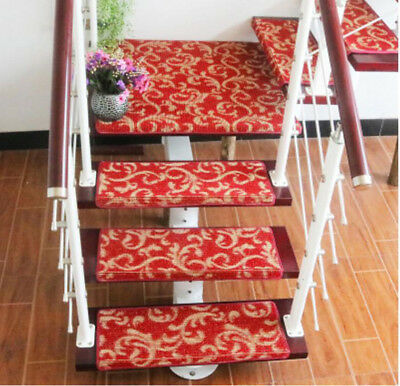 E40 Red Household 5PCS Step Rug Stair Tread Mat Skid Resistance Carpet 75X24CM Z