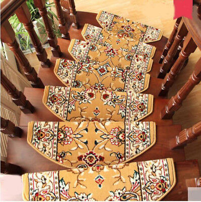 E23 5PCS Household Stair Tread Mat Skid Resistance Step Rug Carpet 75X24CM Z