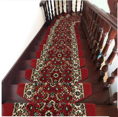 E25 5PCS Household Stair Tread Mat Skid Resistance Step Rug Carpet 90X24CM Z